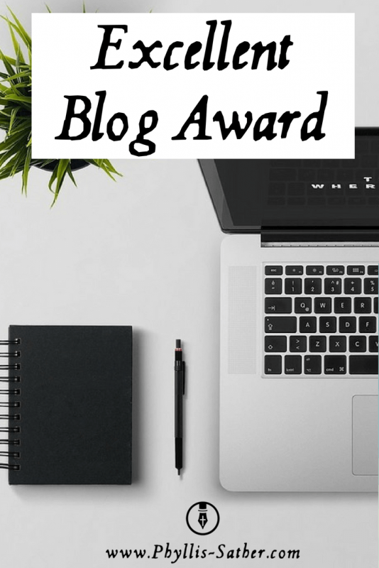 Excellent Blog Award. By accepting this Excellent Blog Award, you have to award it to 10 more people whose blogs you find Excellent Award worthy.